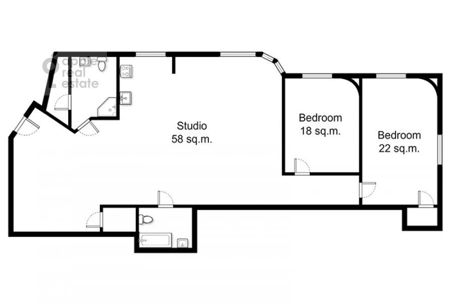 Floor plan of the 3-room apartment at Krasnoproletarskaya ul. 9/2