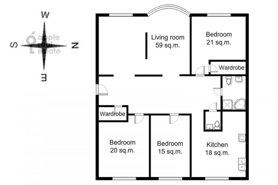 Floor plan of the 4-room apartment at Krivokolennyy per. 14/1