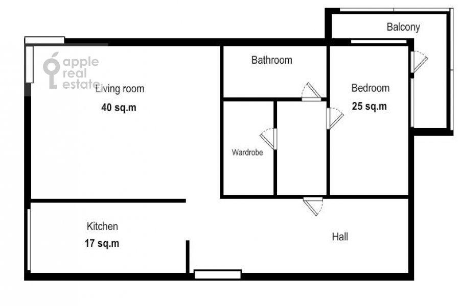 Floor plan of the 2-room apartment at Udal'tsova ul. 23