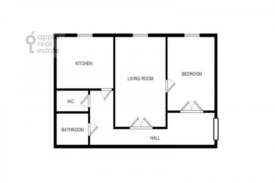 Поэтажный план 2-комнатной квартиры по адресу Новинский бульв. 18с1