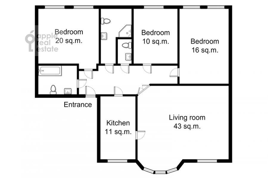Floor plan of the 4-room apartment at Tsvetnoy bul'var 16/1