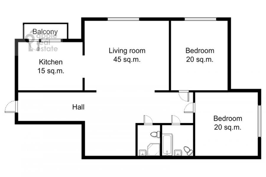 Поэтажный план 3-комнатной квартиры по адресу Большая Серпуховская ул. 25с2