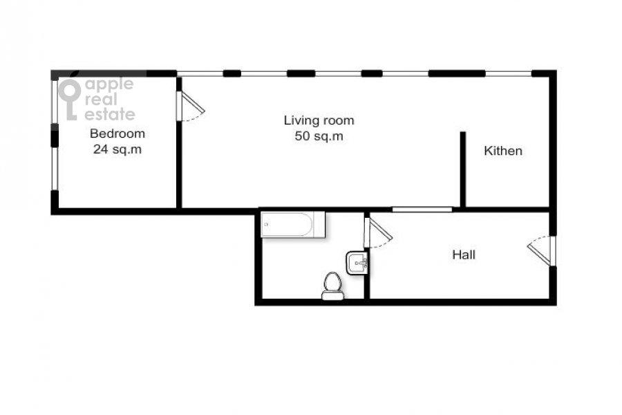 Поэтажный план 2-комнатной квартиры по адресу Строченовский Большой пер. 4