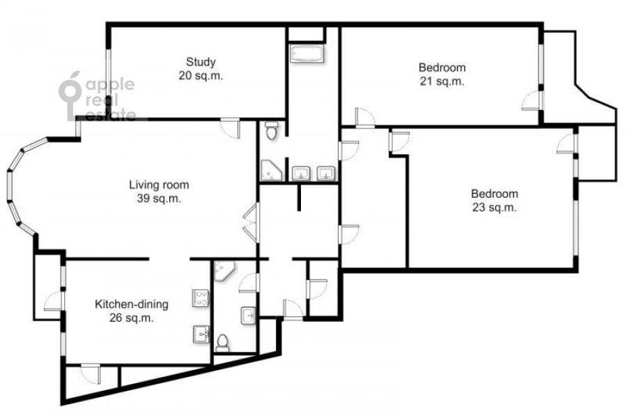 Поэтажный план 4-комнатной квартиры по адресу Архитектора Власова ул. 22