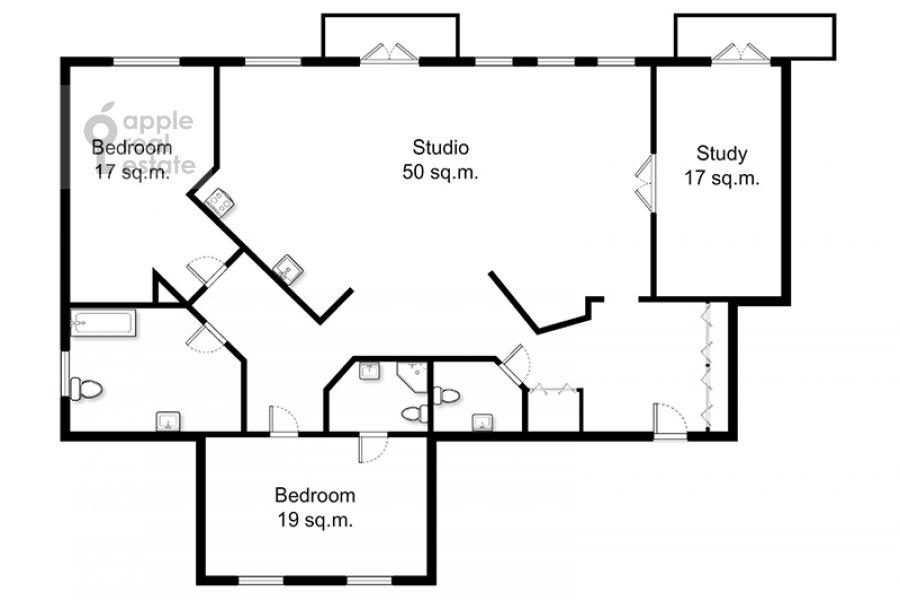 Поэтажный план 4-комнатной квартиры по адресу Климентовский пер. 9/1