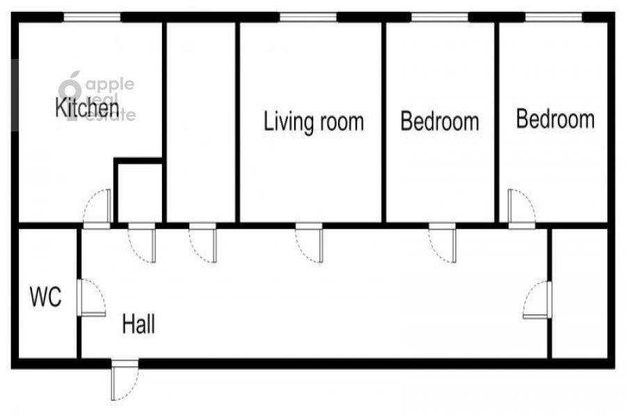 Floor plan of the 4-room apartment at Sechenovskiy per. 7