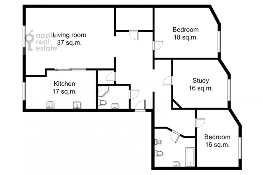 Поэтажный план 4-комнатной квартиры по адресу Долгоруковская ул. 6