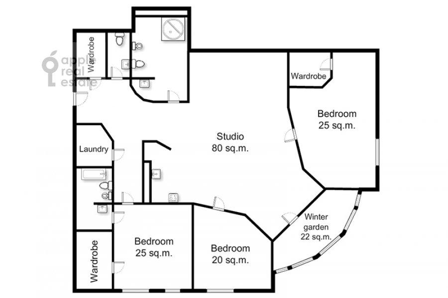 Поэтажный план 4-комнатной квартиры по адресу Можайское шоссе 2