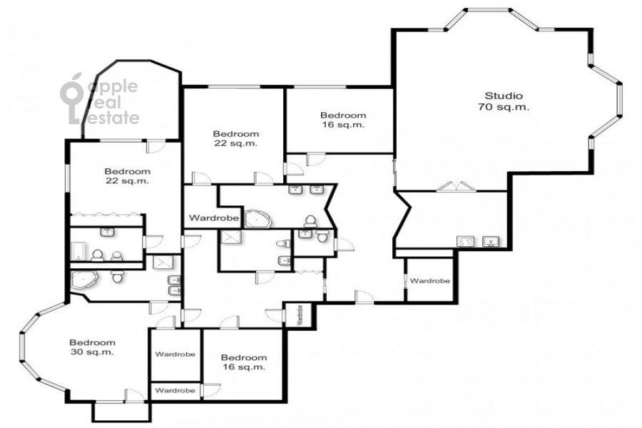 Поэтажный план 6-комнатной квартиры по адресу Береговая ул. 4к3
