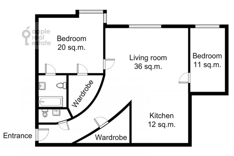 Поэтажный план 3-комнатной квартиры по адресу Маршала Соколовского ул. 5
