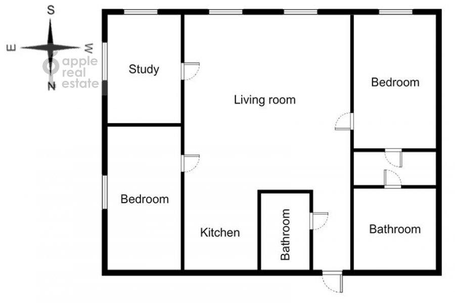 4-room apartment at Smolenskiy 1-y per. 17