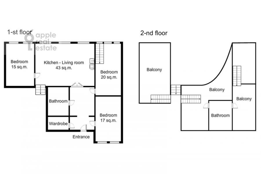 Поэтажный план 4-комнатной квартиры по адресу Ордынка Малая ул. 13с1а