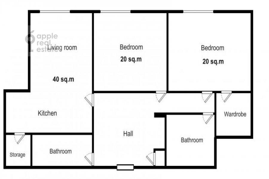 Floor plan of the 3-room apartment at Aviatsionnaya ul. 77k5
