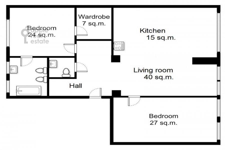 Floor plan of the 3-room apartment at Leningradskiy prosp. 2