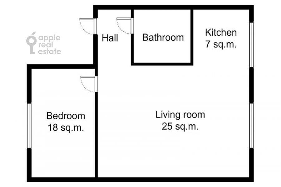 Поэтажный план 2-комнатной квартиры по адресу Николопесковский Большой пер. 6