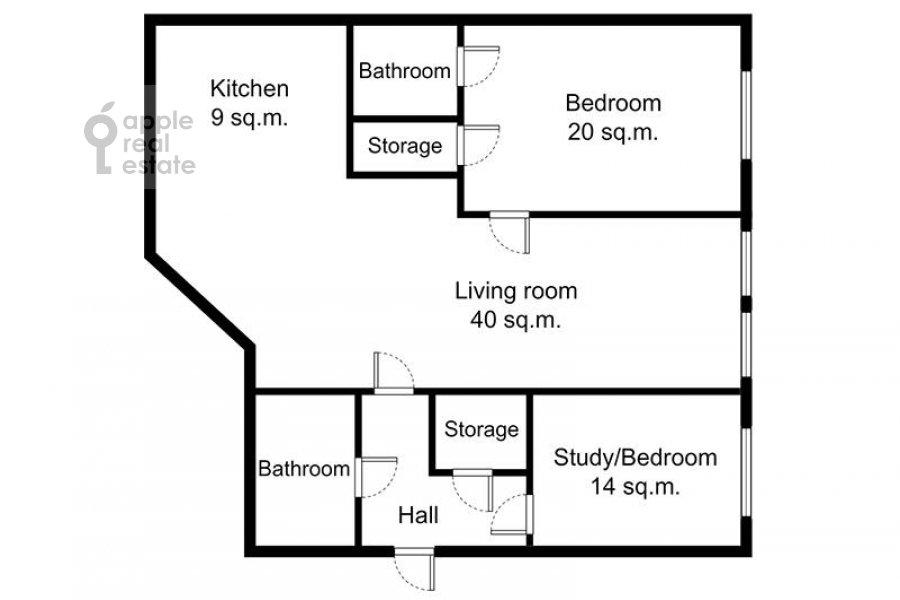 Поэтажный план 3-комнатной квартиры по адресу Садовая-Кудринская улица 23с1
