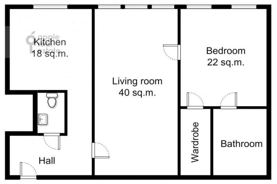 Поэтажный план 2-комнатной квартиры по адресу Чапаевский пер. 3