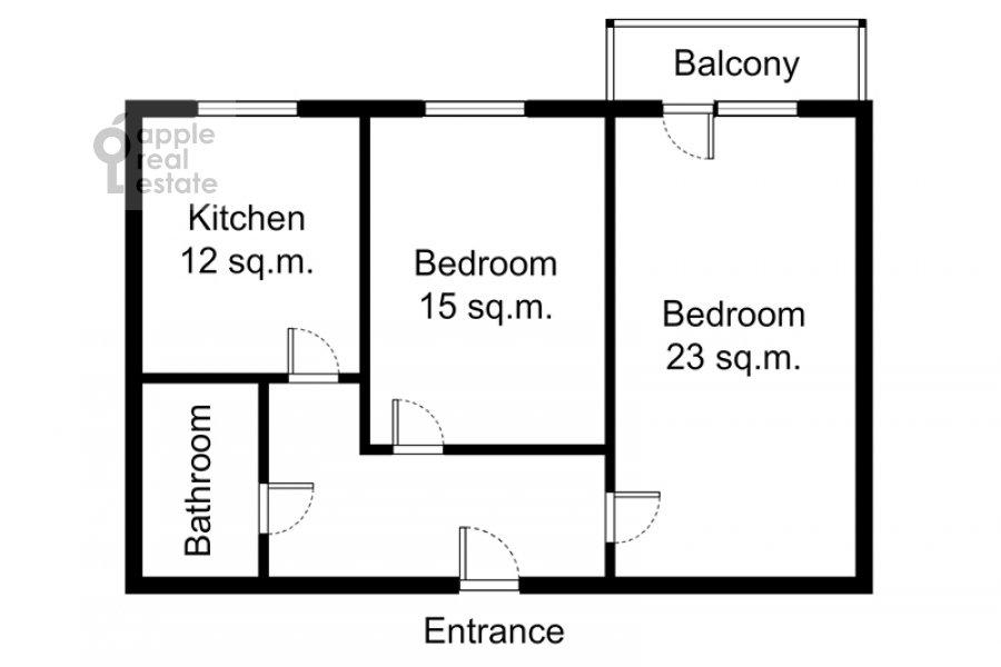Поэтажный план 2-комнатной квартиры по адресу Кутузовский просп. 5/3