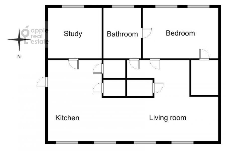 Floor plan of the 3-room apartment at Trubnikovskiy per. 24s1