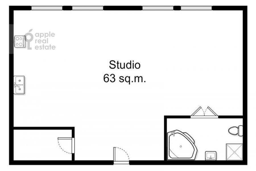 Floor plan of the 1-room apartment at Gilyarovskogo ul. 62