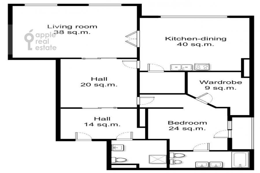 Floor plan of the 3-room apartment at Barykovskiy per. 6
