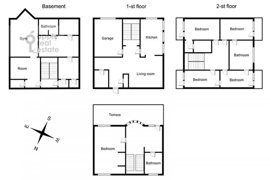 Floor plan of the 6-room apartment at Beregovaya ul. 8
