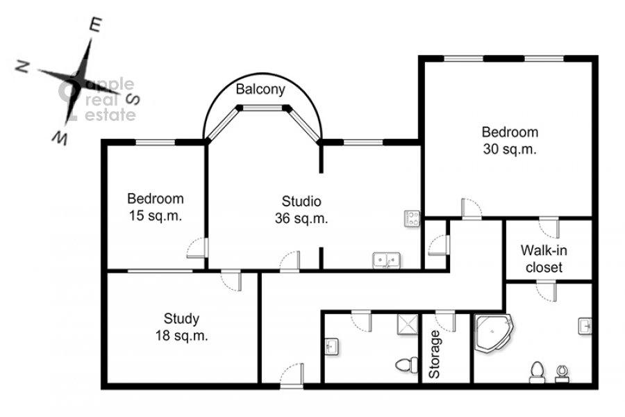 Floor plan of the 4-room apartment at Krasnoproletarskaya ul. 7
