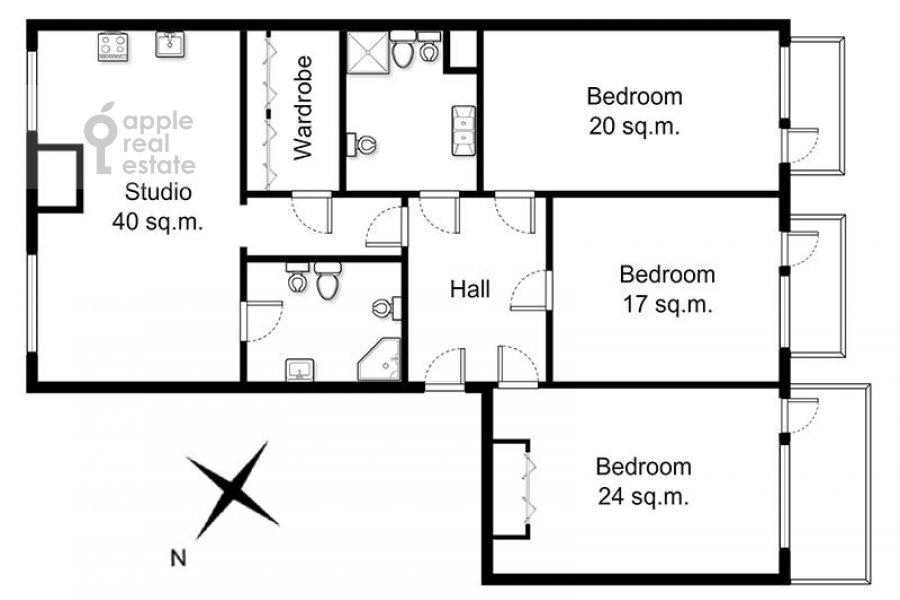 Floor plan of the 4-room apartment at Marshala Biryuzova ul. 31