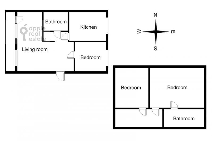 Поэтажный план 4-комнатной квартиры по адресу Тверская ул. 4