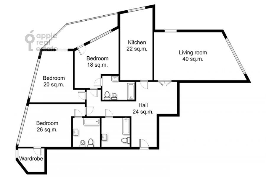 Поэтажный план 4-комнатной квартиры по адресу Ленинский просп. 92к1