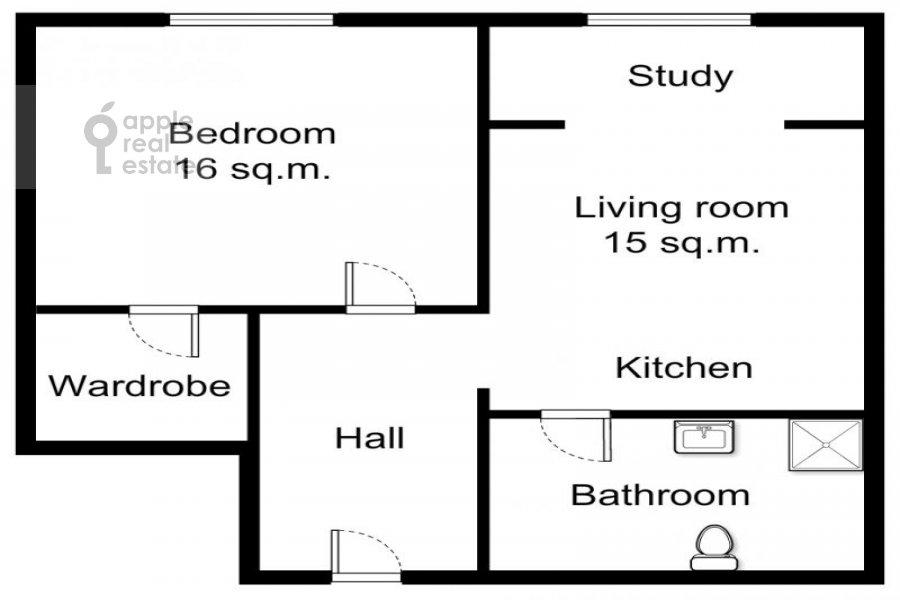 Поэтажный план 1-комнатной квартиры по адресу Малый Левшинский переулок 5
