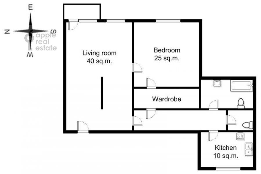 Поэтажный план 2-комнатной квартиры по адресу Новослободская ул. 57/65