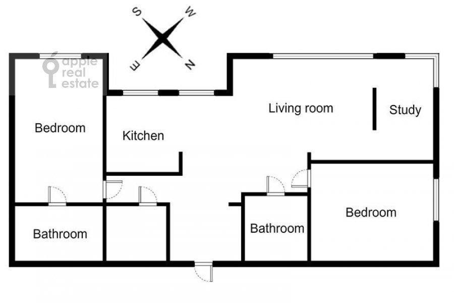 Поэтажный план 3-комнатной квартиры по адресу Дмитрия Ульянова ул. 31