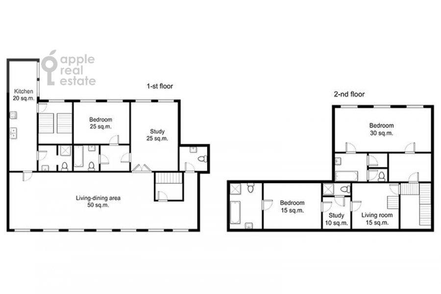 Поэтажный план 6-комнатной квартиры по адресу Хлебный переулок 6