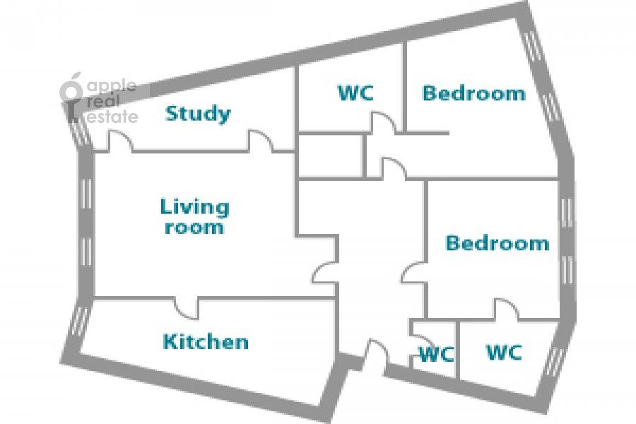 Поэтажный план 4-комнатной квартиры по адресу Молочный пер. 1