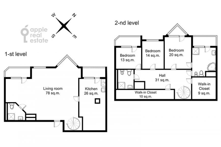 Floor plan of the 4-room apartment at Zoologicheskaya ulitsa 26s1