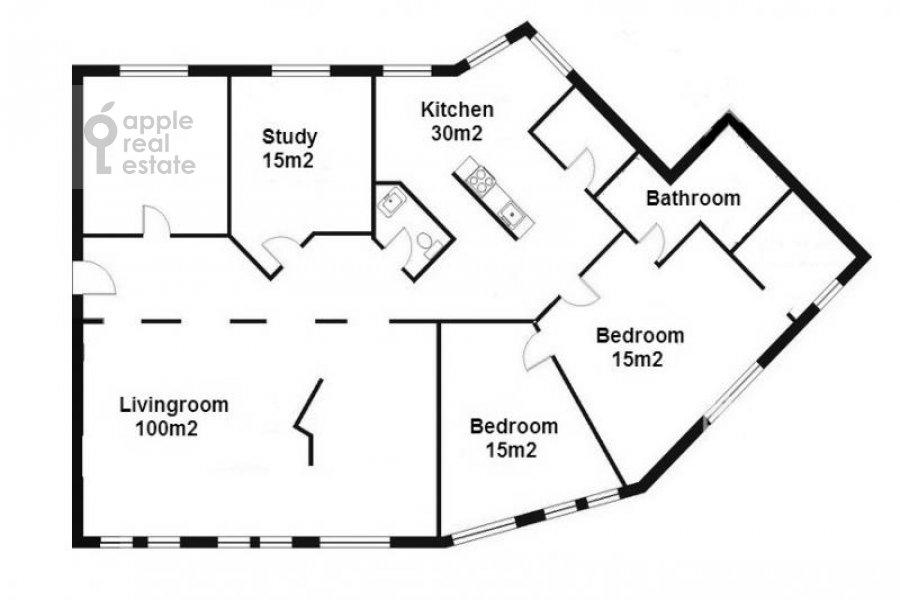 Поэтажный план 4-комнатной квартиры по адресу Кривоколенный пер. 14