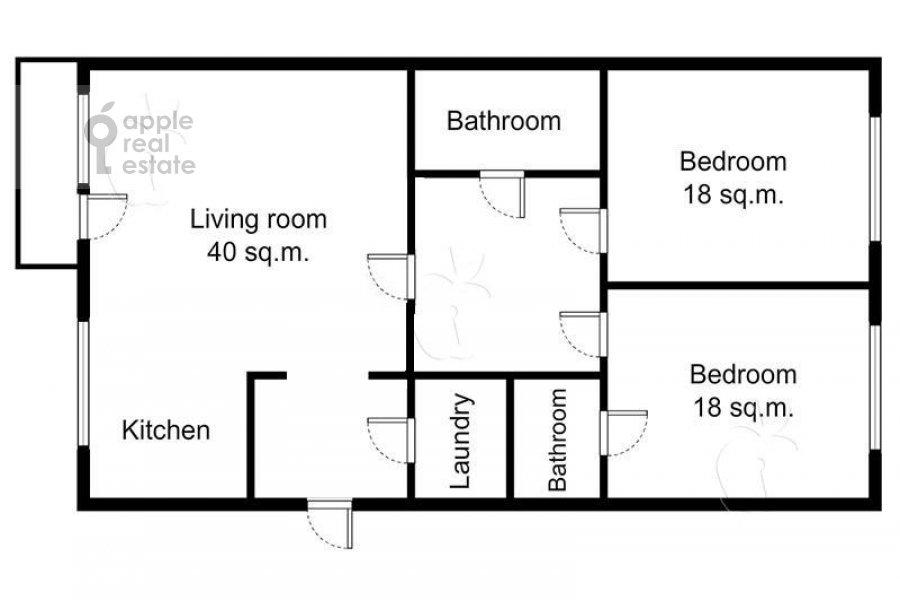 Floor plan of the 3-room apartment at Fadeeva ul. 4a