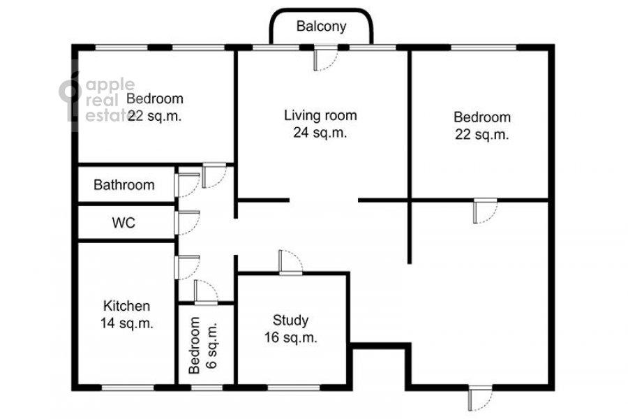 Floor plan of the 5-room apartment at Goncharnaya ul. 26k1