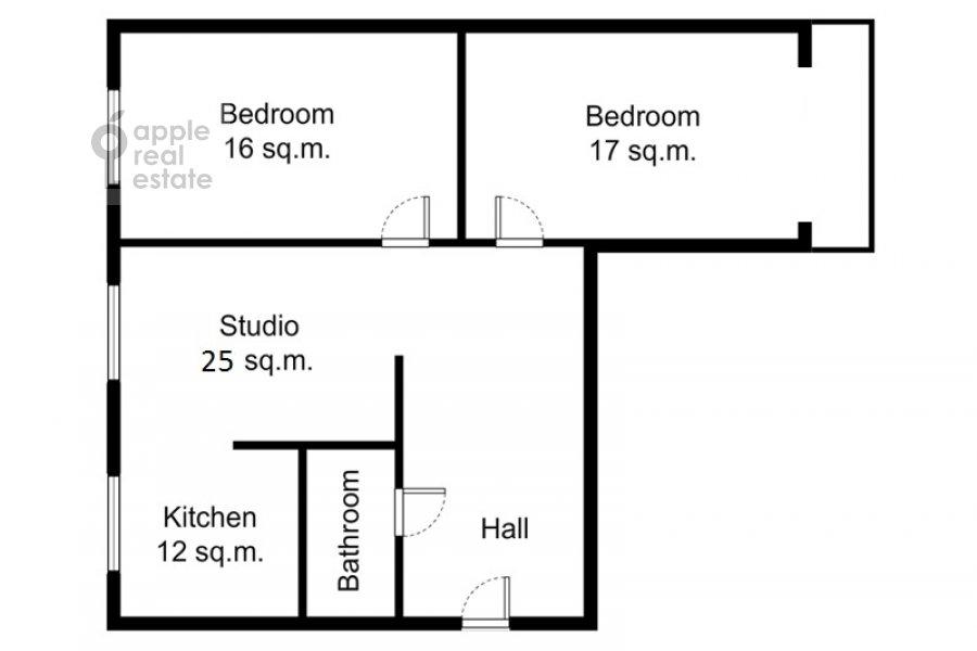 Поэтажный план 3-комнатной квартиры по адресу Бродников пер. 10с2