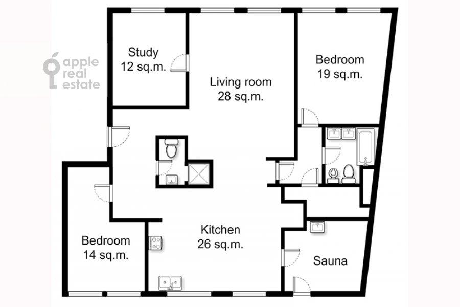 Floor plan of the 4-room apartment at Staropimenovskiy per. 8