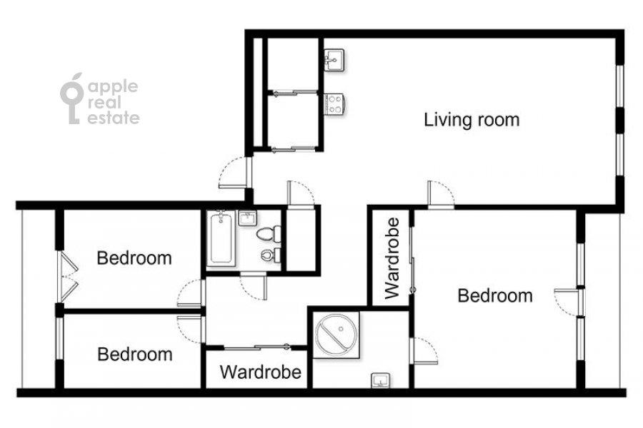 Поэтажный план 4-комнатной квартиры по адресу Якиманский переулок 6