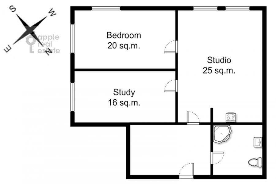 Floor plan of the 3-room apartment at Arbat ul. 51s1