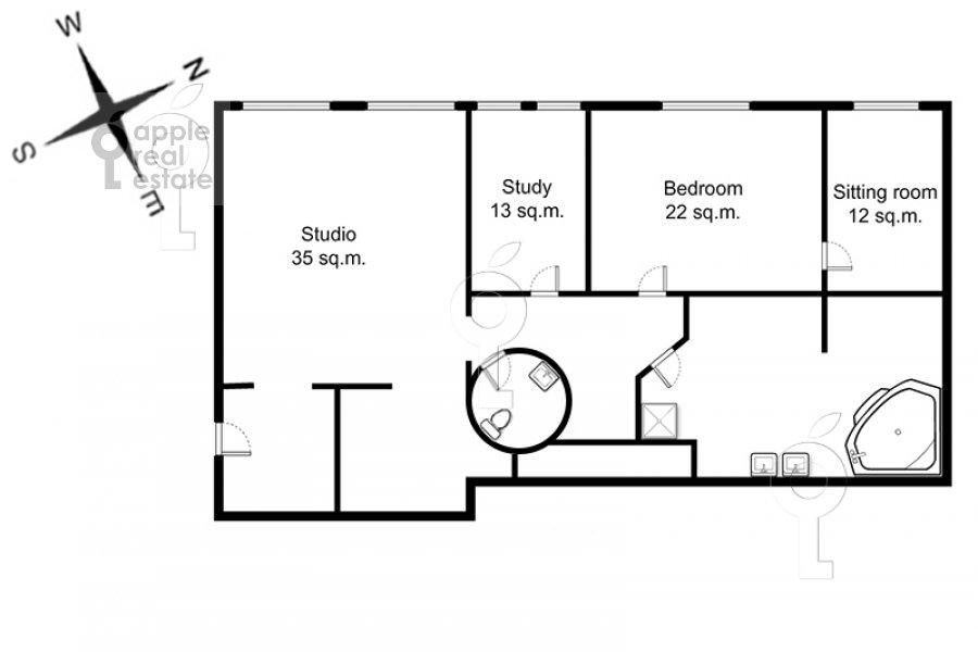 Floor plan of the 4-room apartment at Arbat ul. 9s2