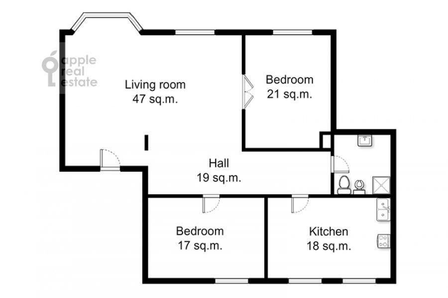 Поэтажный план 3-комнатной квартиры по адресу Тверская ул. 9