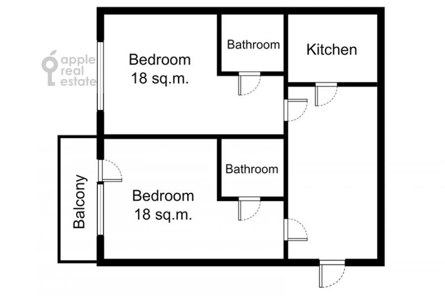 Floor plan of the 2-room apartment at Kozitskiy per. 1a