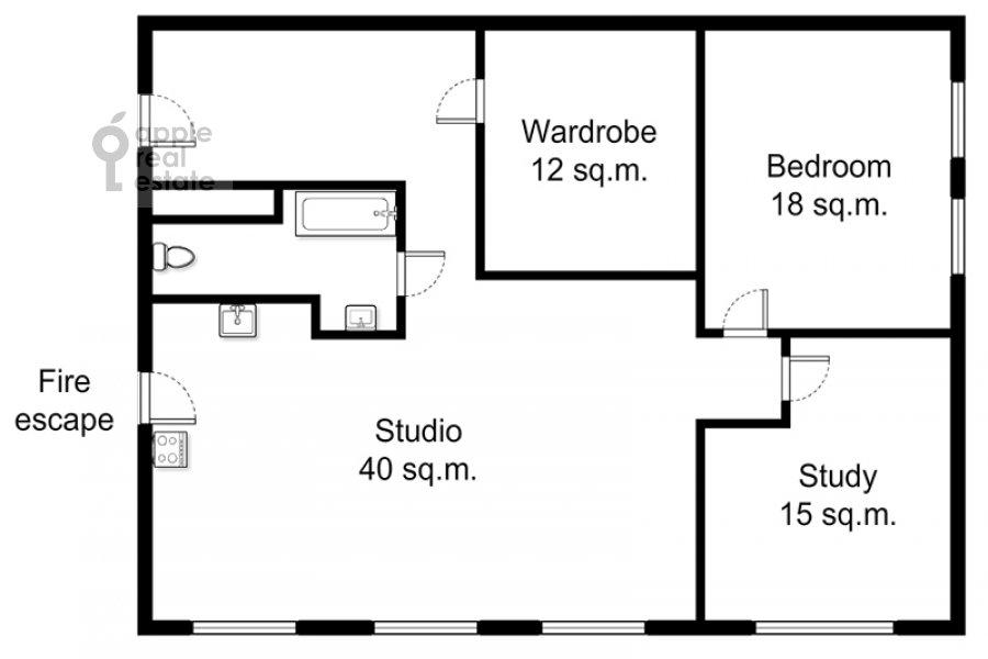 Floor plan of the 3-room apartment at Trekhprudnyy per. 11/13s1