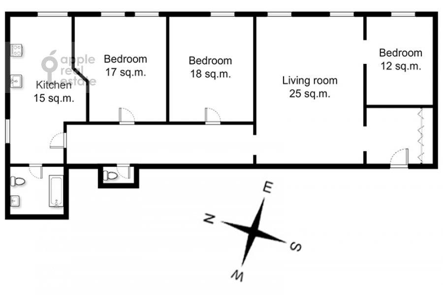 Поэтажный план 4-комнатной квартиры по адресу Каковинский Малый пер. 3к1