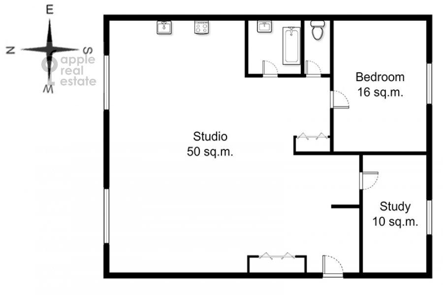 Поэтажный план 3-комнатной квартиры по адресу Ленинградский пр-т. 26к2