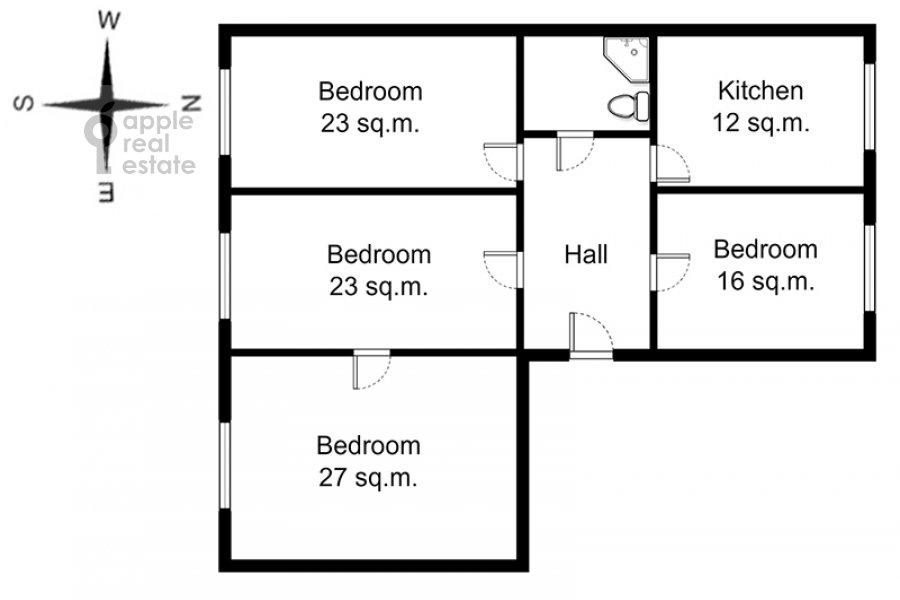 Поэтажный план 4-комнатной квартиры по адресу Тверская-Ямская 1-я ул. 36